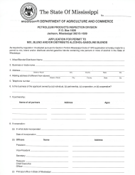 """""""Application for Permit to Mix, Blend and/or Distribute Alcohol-Gasoline Blends"""" - Mississippi"""