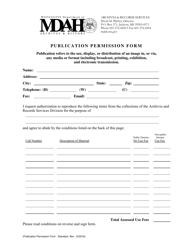 """Publication Permission Form"" - Mississippi"