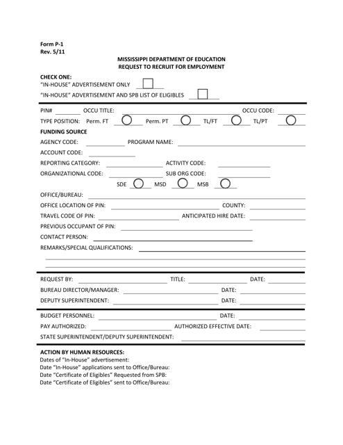 Form P-1 Printable Pdf