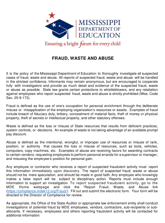 """Fraud, Waste and Abuse Policy Acknowledgment Form"" - Mississippi Download Pdf"