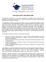 Related Party and Nepotism Acknowledgment Form - Mississippi