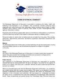 """Code of Ethical Conduct Policy Acknowledgment Form"" - Mississippi"