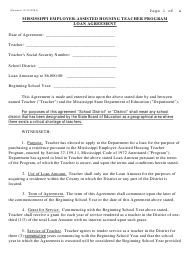 """Loan Agreement Form - Mississippi Employer-Assisted Housing Teacher Program"" - Mississippi"