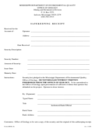 "Form MRD-4A ""Safekeeping Receipt"" - Mississippi"