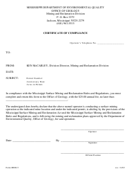 "Form MRD-5 ""Certificate of Compliance"" - Mississippi"