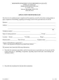 "Form MRD-8 ""Application for Bond Release"" - Mississippi"