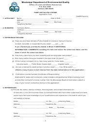 "Form OLWR-PI-2 ""Pump Installer License Application Form"" - Mississippi"