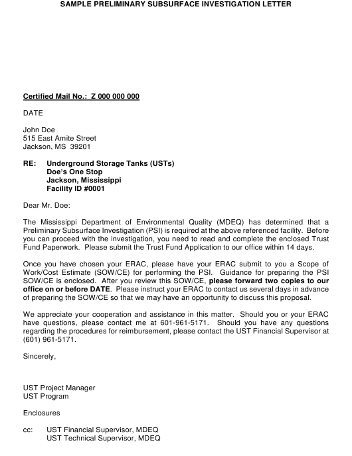 "Sample ""Preliminary Subsurface Investigation Letter"" - Mississippi Download Pdf"