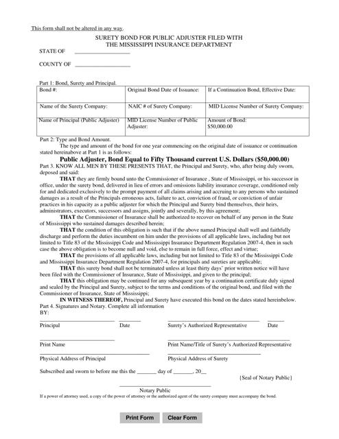 """Surety Bond for Public Adjuster Filed With the Mississippi Insurance Department"" - Mississippi Download Pdf"