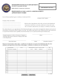"""""""Professional Bail Agent: Limited Surety Appointment Form"""" - Mississippi"""