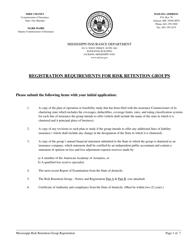 """Risk Retention Group Notice and Registration Form"" - Mississippi"