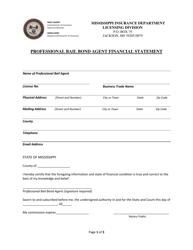 """Professional Bail Bond Agent Financial Statement"" - Mississippi"