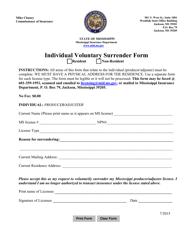 """Individual Voluntary Surrender Form"" - Mississippi"