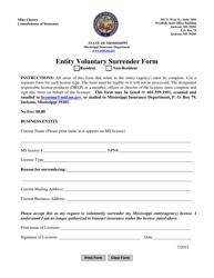 """Entity Voluntary Surrender Form"" - Mississippi"