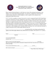 """Military/ Retired Law Enforcement Enhanced Carry Affidavit Form"" - Mississippi"
