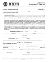 "Form 72-15-09 ""Affidavit for Church Utility Exemption"" - Mississippi"