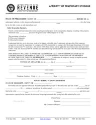 """Form 72-16-01 """"Affidavit of Temporary Storage"""" - Mississippi"""