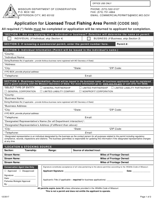 """""""Application for Licensed Trout Fishing Area Permit (Code 560)"""" - Missouri Download Pdf"""