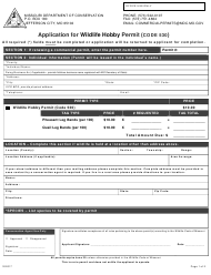 """Application for Wildlife Hobby Permit (Code 530)"" - Missouri"
