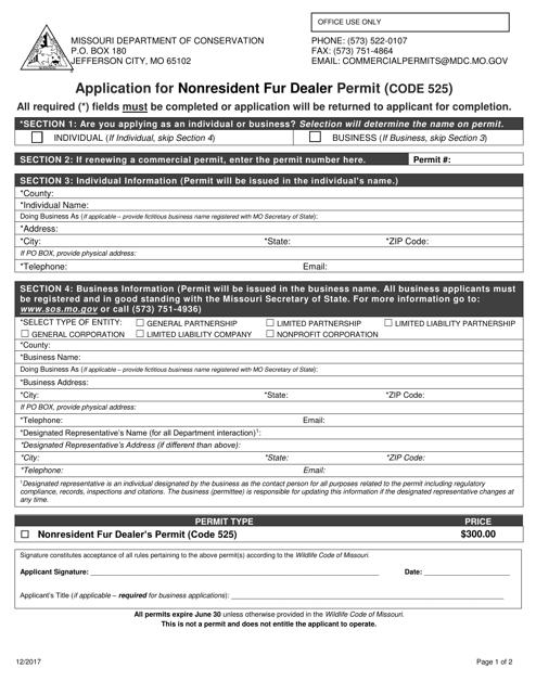 """Application for Nonresident Fur Dealer Permit (Code 525)"" - Missouri Download Pdf"
