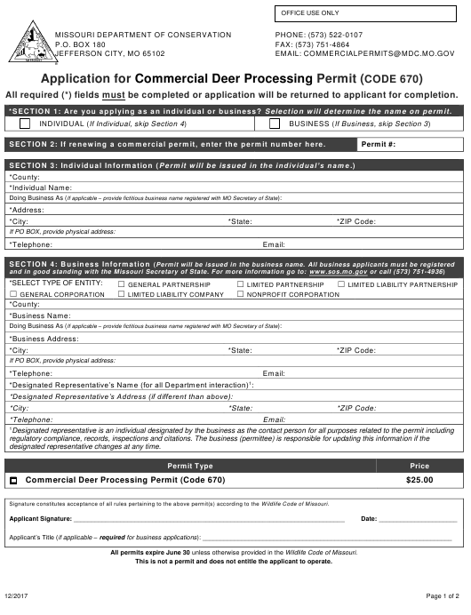 """""""Application for Commercial Deer Processing Permit (Code 670)"""" - Missouri Download Pdf"""