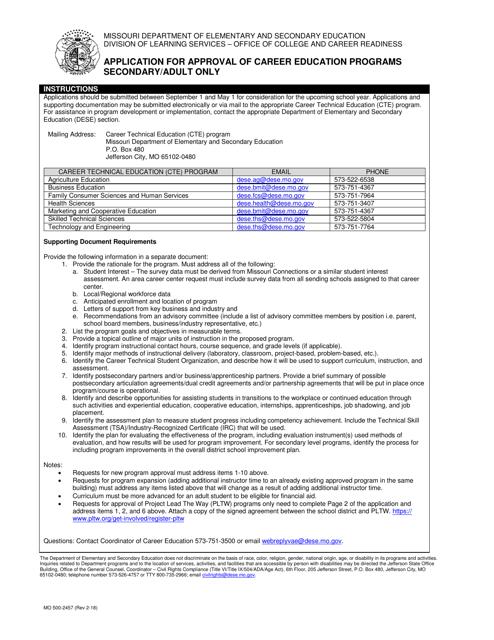 Form MO500-2457  Printable Pdf