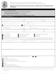 "Form MO500-2456 ""Mentor Application for Participation in Career Education Mentoring Program"" - Missouri"