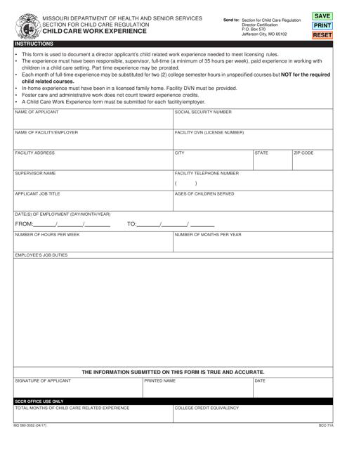 Form MO580-3052 (BCC-71A) Printable Pdf