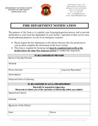 """Fire Department Notification Form"" - Missouri"