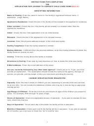 """Instructions for Form BCC-2-1 """"Application for License to Operate Child Care Home"""" - Missouri"""