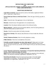 """Instructions for Form BCC-1 """"Application for License to Operate Group Child Care Home and Child Care Center"""" - Missouri"""