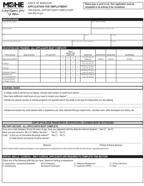 """Application for Employment"" - Missouri Download Pdf"