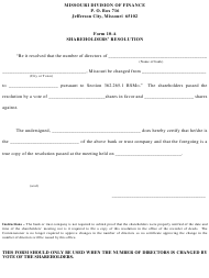 "Form 10-A ""Shareholder's Resolution"" - Missouri"
