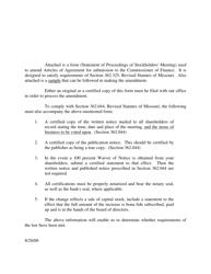 """Statement of Proceedings of Stockholders' Meeting"" - Missouri"
