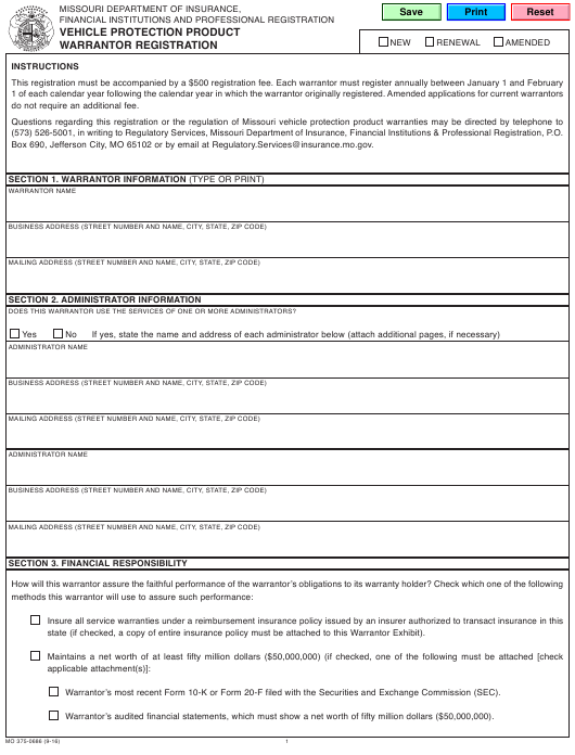 Form MO 375-0686 Download Fillable PDF, Vehicle Protection