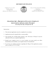 "Form PF ""Application for Premium Finance Company"" - Missouri"