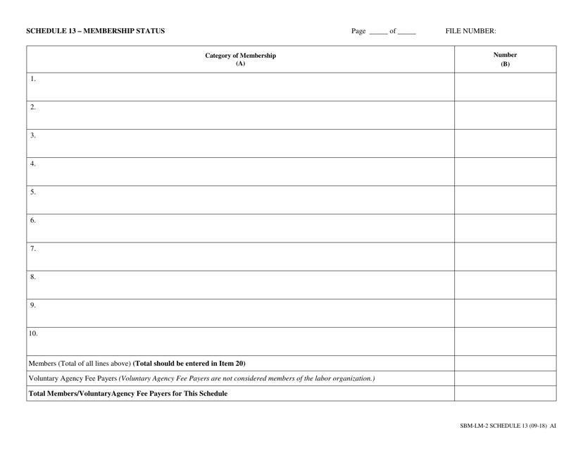 Form SBM-LM-2 Schedule 13  Printable Pdf