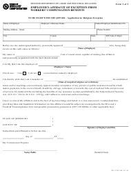"Form WC-138-5 ""Employer's Affidavit of Exception From Workers' Compensation Benefits"" - Missouri"