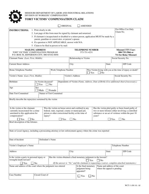 Form WCT-1  Printable Pdf