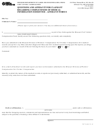 """Form Wct-6 """"Affidavit Form E - Questions and Affidavit for Claimant Regarding Completeness of Medical Information Submitted"""" - Missouri"""