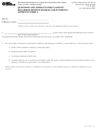 "Form WCT-2 ""Affidavit Form a - Questions and Affidavit for Claimant Regarding Benefit Sources and Payments"" - Missouri"