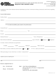 "Form WCR-8 ""Request for Certification"" - Missouri"