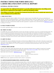 "Instructions for Form SBM-LM-2 ""Labor Organization Annual Report"" - Missouri"