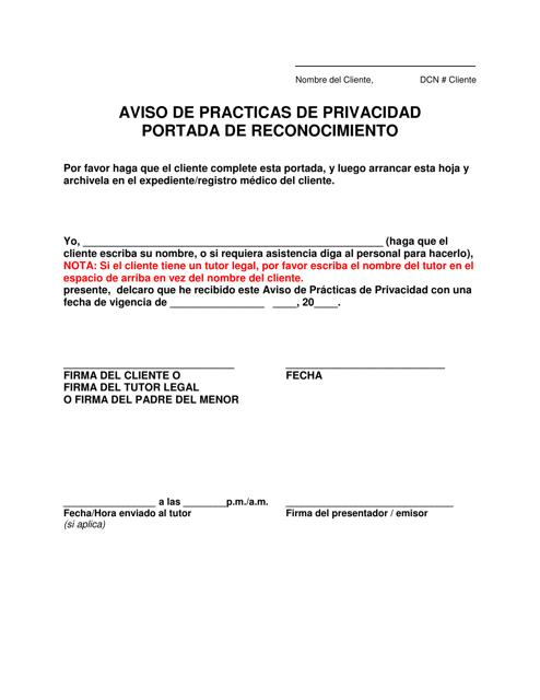 """""""Aviso De Practicas De Privacidad Portada De Reconocimiento"""" - Missouri (Spanish) Download Pdf"""