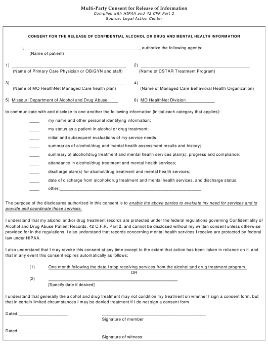 """""""Multi-Party Consent for Release of Information"""" - Missouri Download Pdf"""