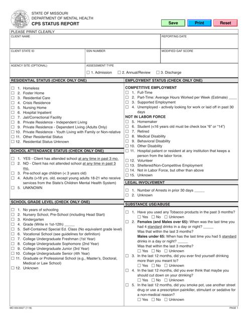 Form MO650-8427  Printable Pdf