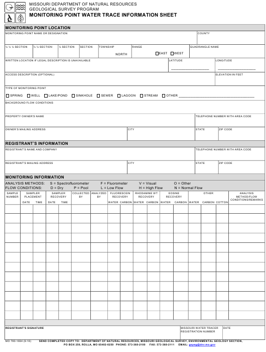 Form MO 780-1694 Download Fillable PDF, Monitoring Point