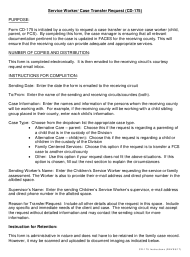 """Instructions for Form CD-175 """"Service Worker/ Case Transfer Request"""" - Missouri"""