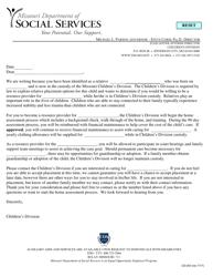 "Form CD-203 ""Relative Notification Letter"" - Missouri"