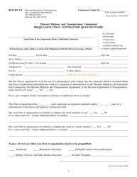 """Prequalification Contractor Questionnaire Form"" - Missouri"
